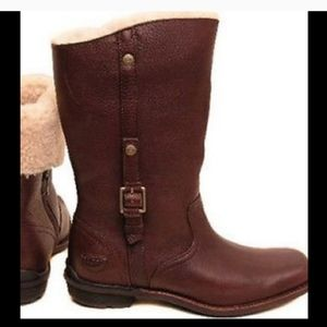 Ugg Bellevue Brown Leather Shearling Moto Boots 8